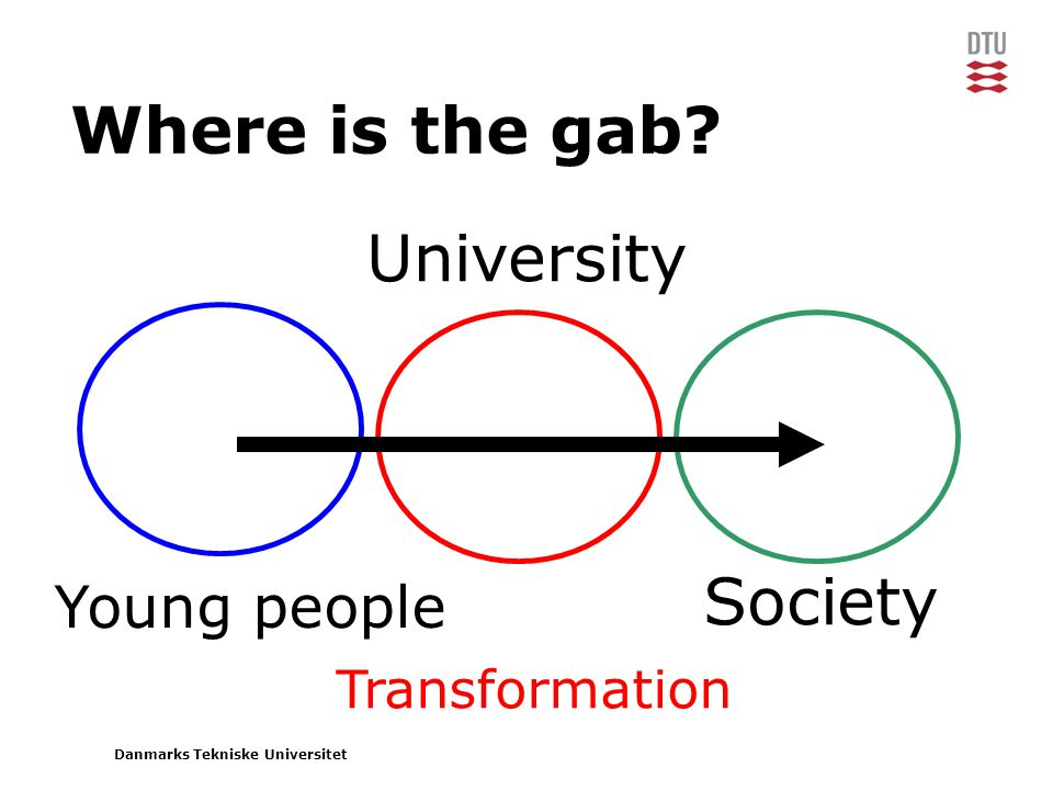 Danmarks Tekniske Universitet Where is the gab Transformation Society Young people University