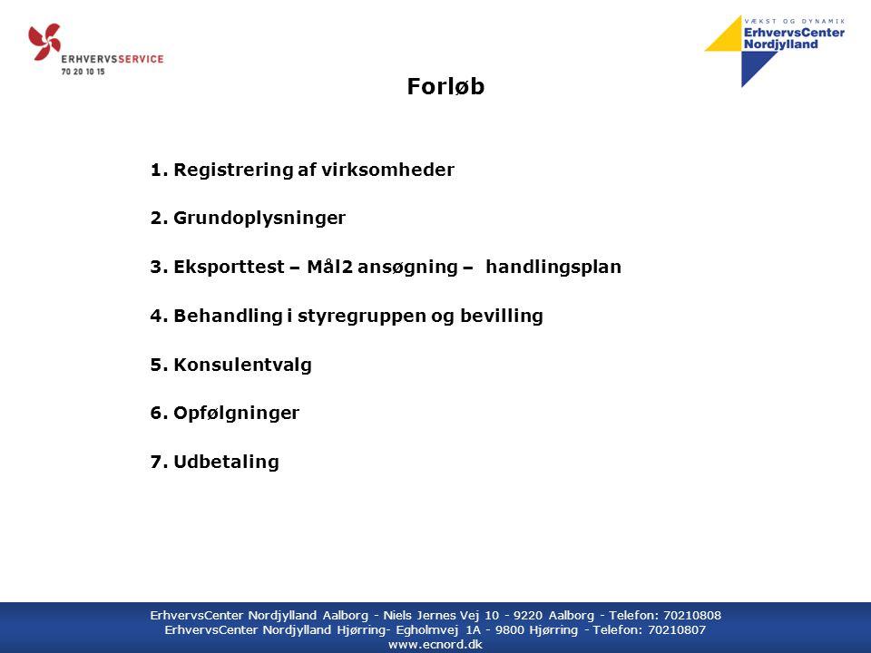 ErhvervsCenter Nordjylland Aalborg - Niels Jernes Vej 10 - 9220 Aalborg - Telefon: 70210808 ErhvervsCenter Nordjylland Hjørring- Egholmvej 1A - 9800 Hjørring - Telefon: 70210807 www.ecnord.dk Forløb 1.
