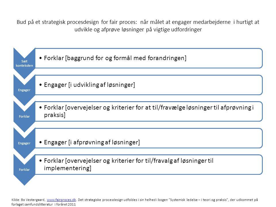 Bud på et strategisk procesdesign: når målet at engager medarbejderne i hurtigt at udvikle og afprøve løsninger på vigtige udfordringer •Hvad er formålet med forandringen •Hvad er til diskussion/ikke til diskussion •Hvad skal ske.