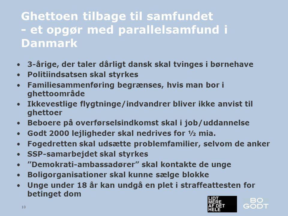 10 Ghettoen tilbage til samfundet - et opgør med parallelsamfund i Danmark •3-årige, der taler dårligt dansk skal tvinges i børnehave •Politiindsatsen skal styrkes •Familiesammenføring begrænses, hvis man bor i ghettoområde •Ikkevestlige flygtninge/indvandrer bliver ikke anvist til ghettoer •Beboere på overførselsindkomst skal i job/uddannelse •Godt 2000 lejligheder skal nedrives for ½ mia.