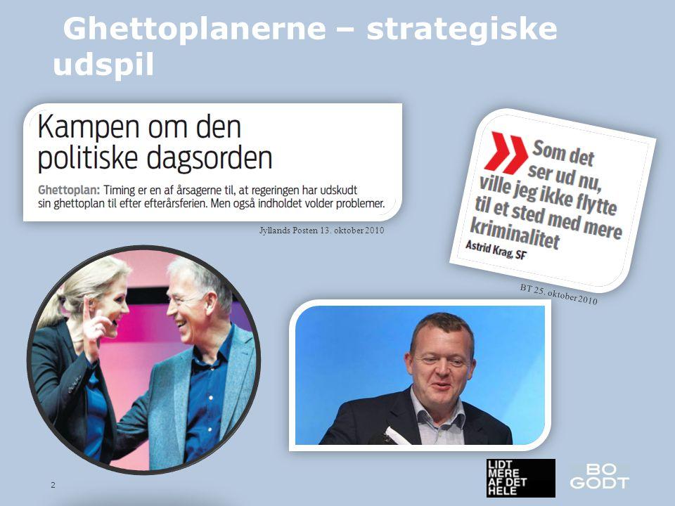 2 Ghettoplanerne – strategiske udspil Jyllands Posten 13. oktober 2010 BT 25. oktober 2010