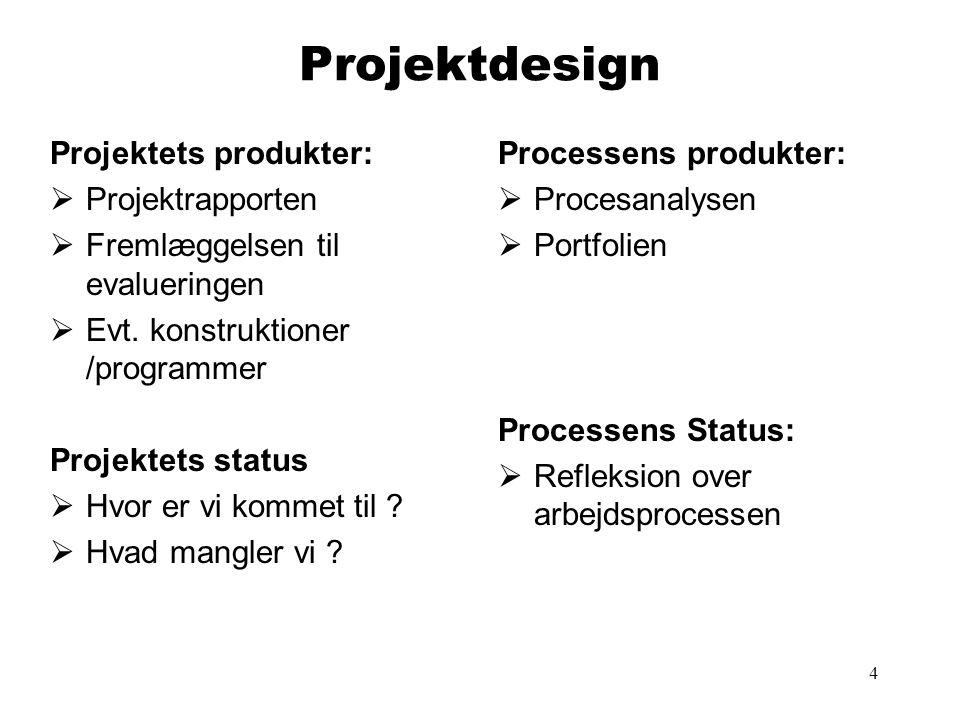 4 Projektdesign Projektets produkter:  Projektrapporten  Fremlæggelsen til evalueringen  Evt. konstruktioner /programmer Projektets status  Hvor e