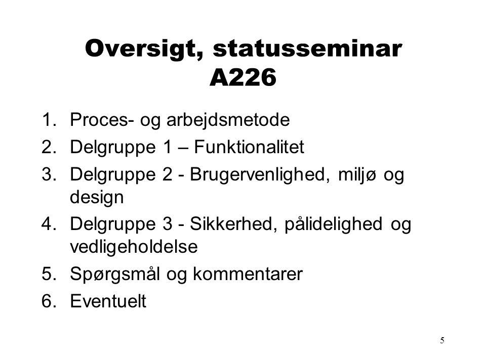 5 Oversigt, statusseminar A226 1.Proces- og arbejdsmetode 2.Delgruppe 1 – Funktionalitet 3.Delgruppe 2 - Brugervenlighed, miljø og design 4.Delgruppe