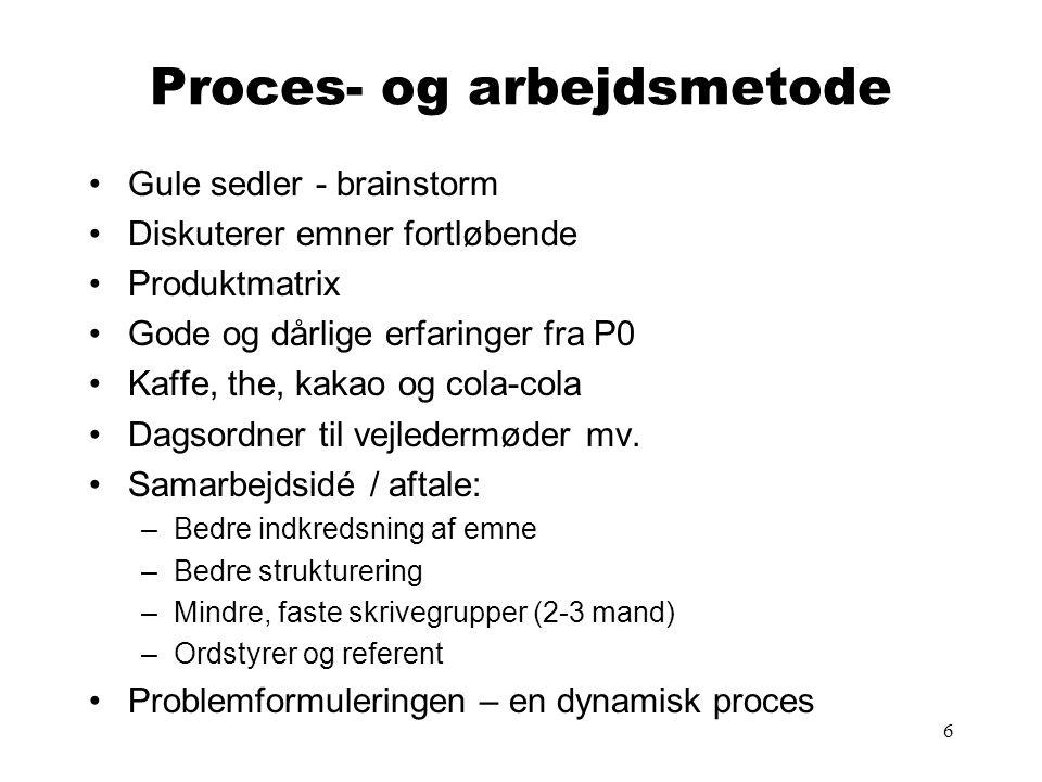 6 Proces- og arbejdsmetode •Gule sedler - brainstorm •Diskuterer emner fortløbende •Produktmatrix •Gode og dårlige erfaringer fra P0 •Kaffe, the, kaka