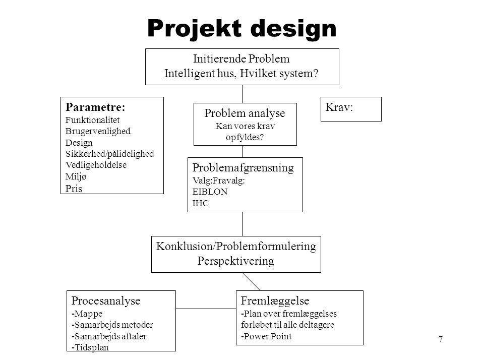 7 Projekt design Initierende Problem Intelligent hus, Hvilket system? Problemafgrænsning Valg:Fravalg: EIBLON IHC Parametre: Funktionalitet Brugervenl