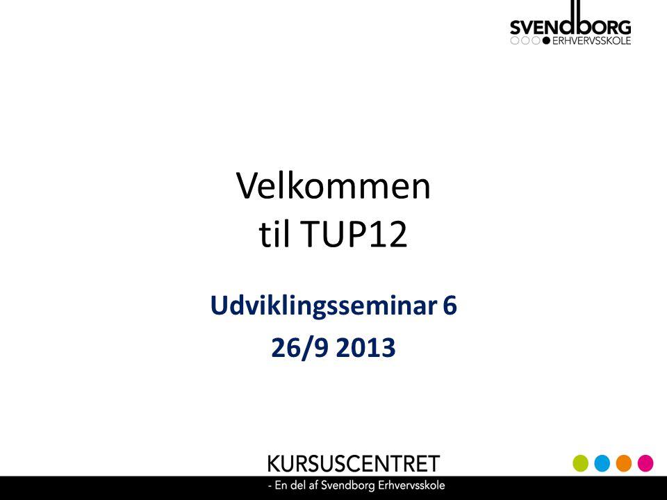 Velkommen til TUP12 Udviklingsseminar 6 26/9 2013