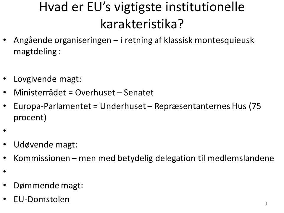 4 Hvad er EU's vigtigste institutionelle karakteristika.