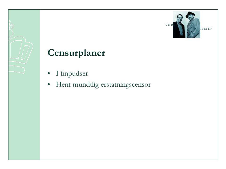 Censurplaner •I finpudser •Hent mundtlig erstatningscensor