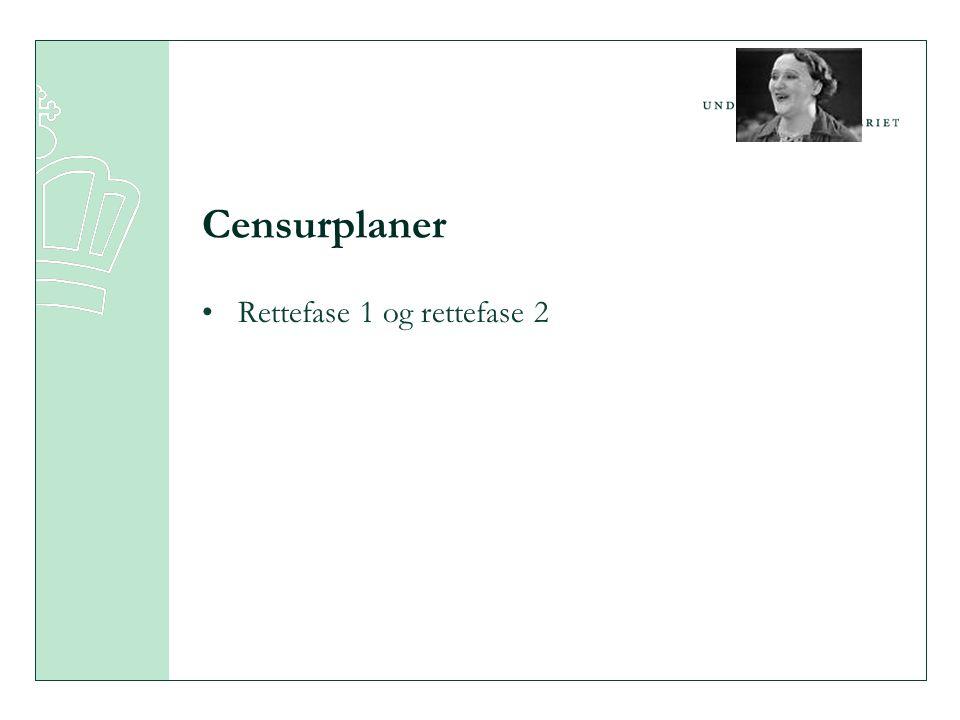 Censurplaner •Rettefase 1 og rettefase 2