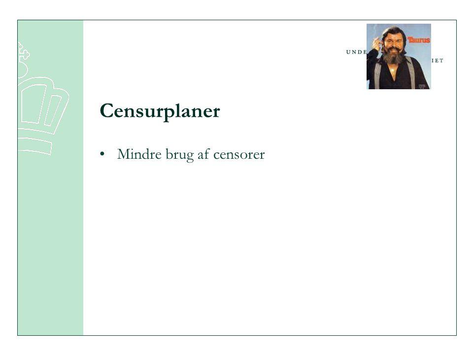 Censurplaner •Mindre brug af censorer