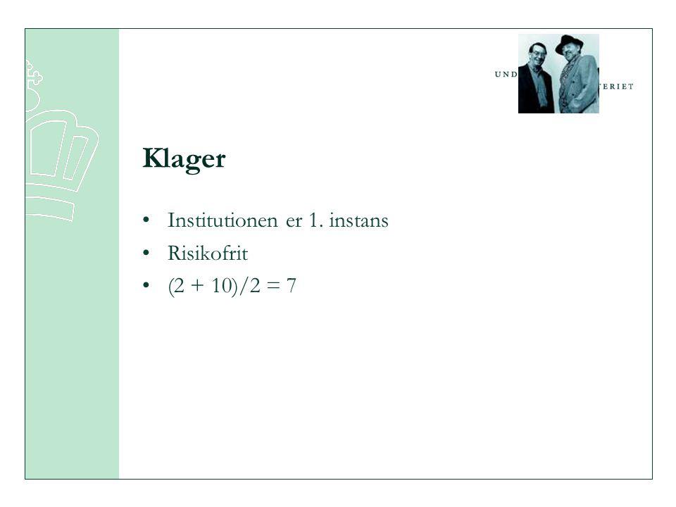 Klager •Institutionen er 1. instans •Risikofrit •(2 + 10)/2 = 7