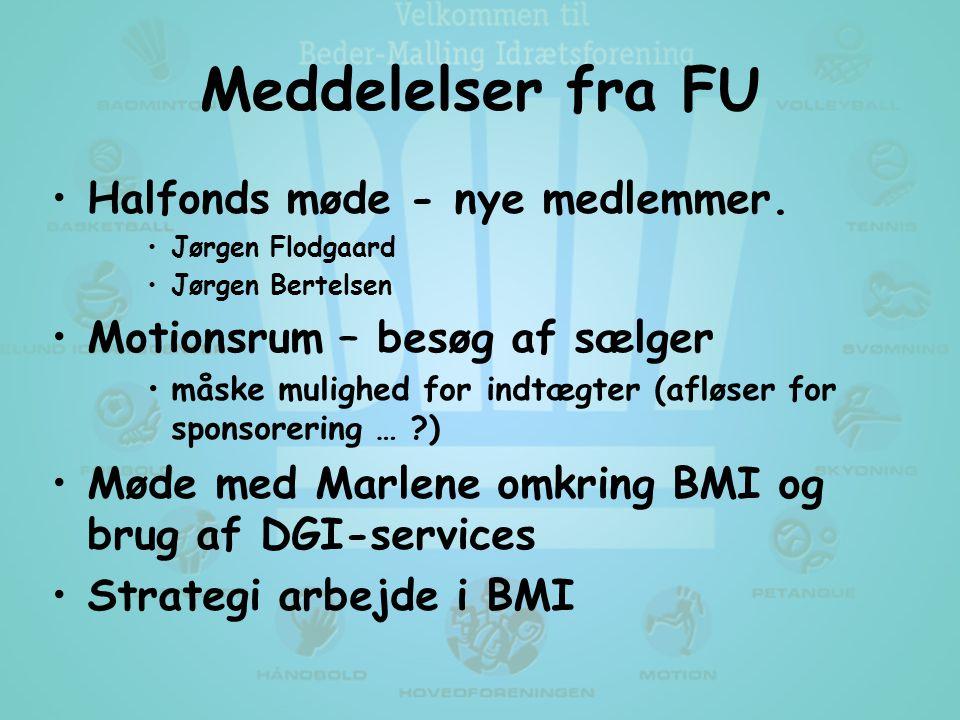 Meddelelser fra FU •Halfonds møde - nye medlemmer.