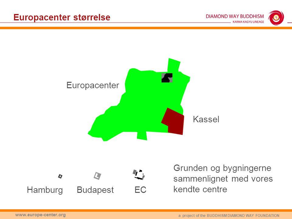 a project of the BUDDHISM DIAMOND WAY FOUNDATION www.europe-center.org Europacenter Europacenter størrelse EC Grunden og bygningerne sammenlignet med vores kendte centre Kassel BudapestHamburg
