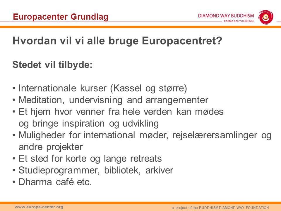 a project of the BUDDHISM DIAMOND WAY FOUNDATION www.europe-center.org Europacenter Grundlag Hvordan vil vi alle bruge Europacentret.
