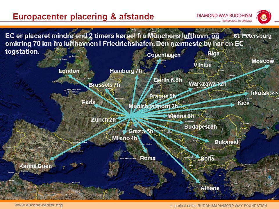 a project of the BUDDHISM DIAMOND WAY FOUNDATION www.europe-center.org Europacenter placering & afstande Milano 4h Budapest 8h Zürich 2h Graz 5,5h Prague 5h EC er placeret mindre end 2 timers kørsel fra Münchens lufthavn, og omkring 70 km fra lufthavnen i Friedrichshafen.