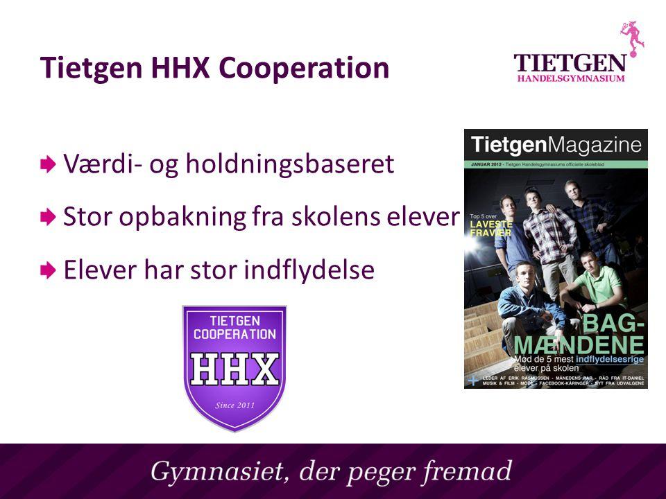 Tietgen HHX Cooperation Værdi- og holdningsbaseret Stor opbakning fra skolens elever Elever har stor indflydelse