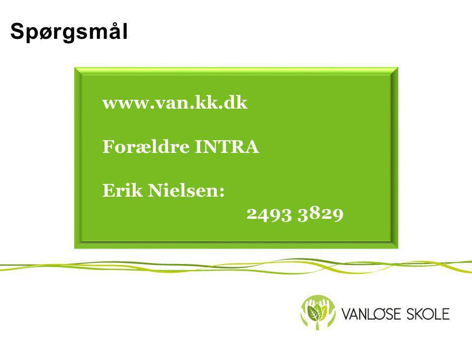 Spørgsmål www.van.kk.dk Forældre INTRA Erik Nielsen: 2493 3829