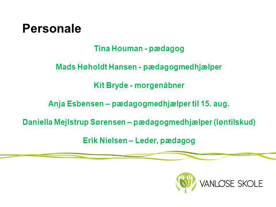 Personale Tina Houman - pædagog Mads Høholdt Hansen - pædagogmedhjælper Kit Bryde - morgenåbner Anja Esbensen – pædagogmedhjælper til 15.