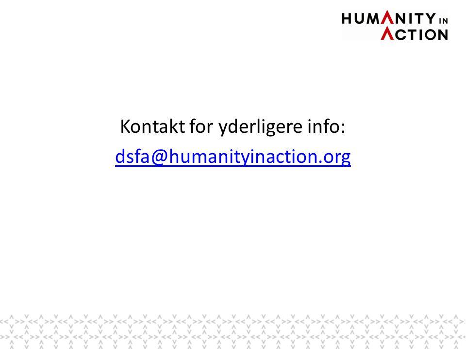 Kontakt for yderligere info: dsfa@humanityinaction.org