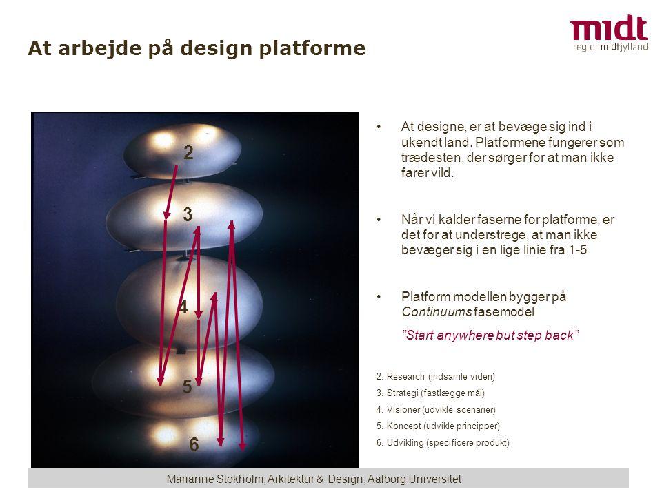 At arbejde på design platforme •At designe, er at bevæge sig ind i ukendt land.