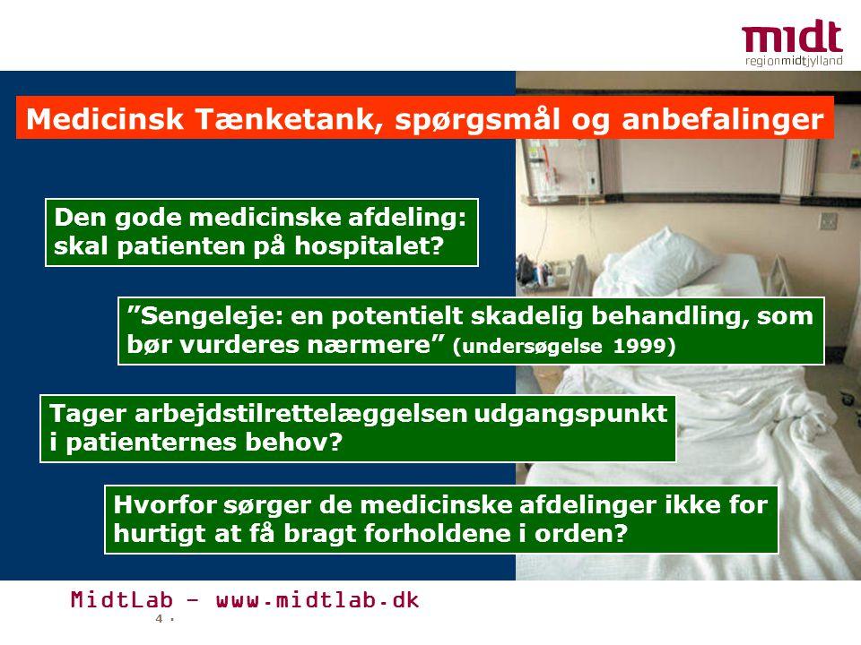 MidtLab - www.midtlab.dk 4 ▪ Medicinsk Tænketank, spørgsmål og anbefalinger Den gode medicinske afdeling: skal patienten på hospitalet.