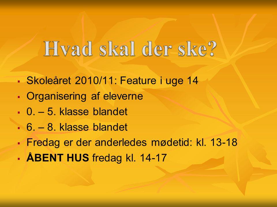   Skoleåret 2010/11: Feature i uge 14   Organisering af eleverne   0.