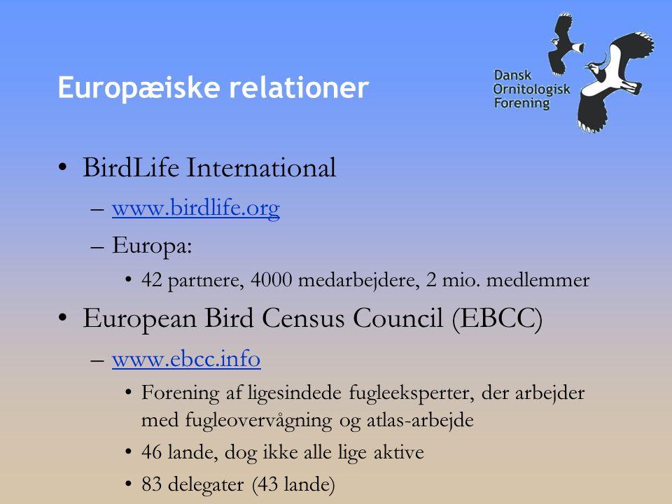 Europæiske relationer •BirdLife International –www.birdlife.orgwww.birdlife.org –Europa: •42 partnere, 4000 medarbejdere, 2 mio.