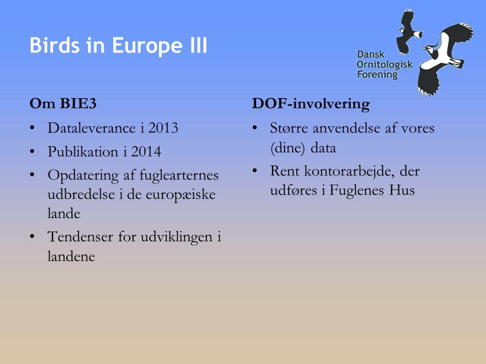 Om BIE3 •Dataleverance i 2013 •Publikation i 2014 •Opdatering af fuglearternes udbredelse i de europæiske lande •Tendenser for udviklingen i landene DOF-involvering •Større anvendelse af vores (dine) data •Rent kontorarbejde, der udføres i Fuglenes Hus Birds in Europe III