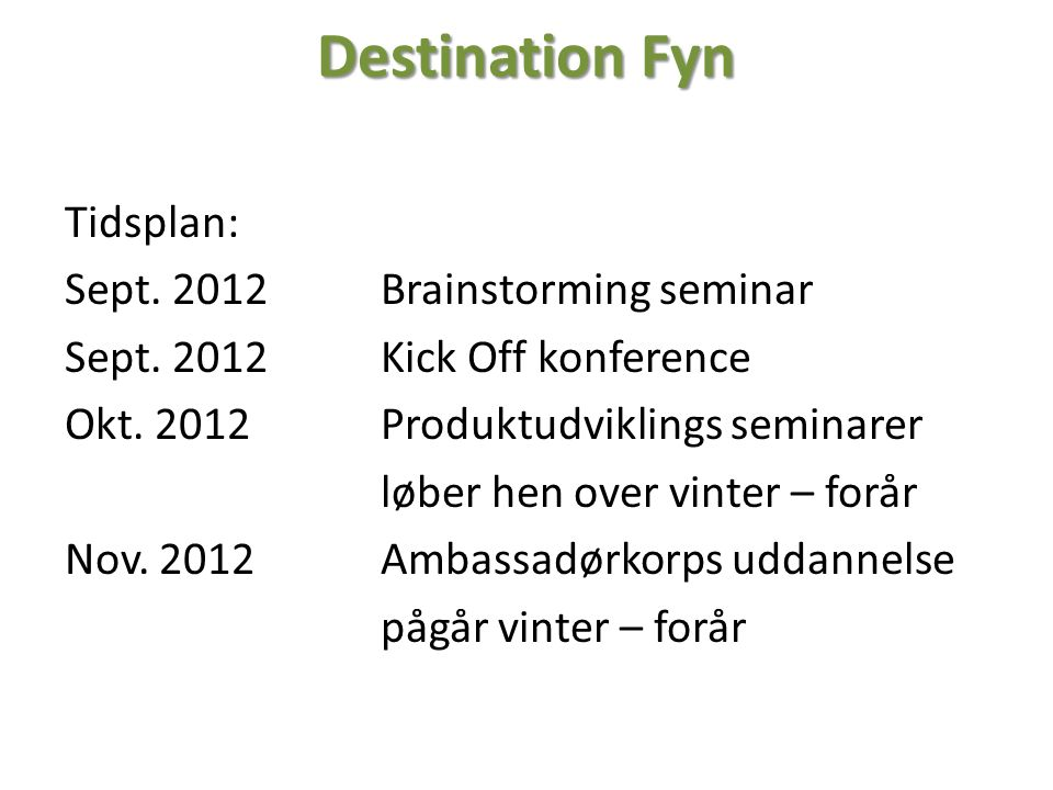Destination Fyn Tidsplan: Sept. 2012Brainstorming seminar Sept.