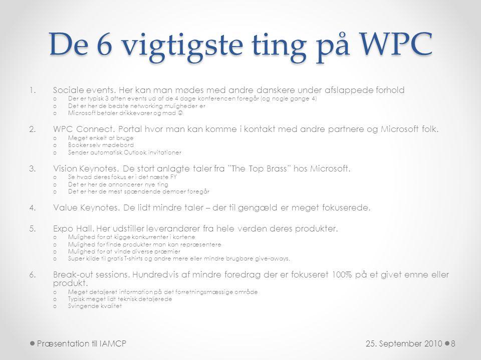 De 6 vigtigste ting på WPC 1.Sociale events.