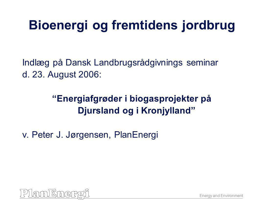 Energy and Environment Bioenergi og fremtidens jordbrug Indlæg på Dansk Landbrugsrådgivnings seminar d.