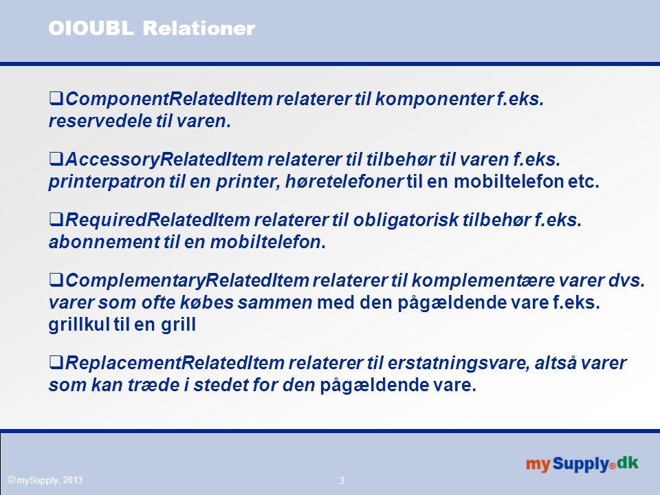  mySupply, 2013 3 OIOUBL Relationer  ComponentRelatedItem relaterer til komponenter f.eks.