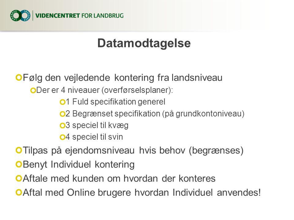 Følg den vejledende kontering fra landsniveau Der er 4 niveauer (overførselsplaner): 1 Fuld specifikation generel 2 Begrænset specifikation (på grundkontoniveau) 3 speciel til kvæg 4 speciel til svin Tilpas på ejendomsniveau hvis behov (begrænses) Benyt Individuel kontering Aftale med kunden om hvordan der konteres Aftal med Online brugere hvordan Individuel anvendes.