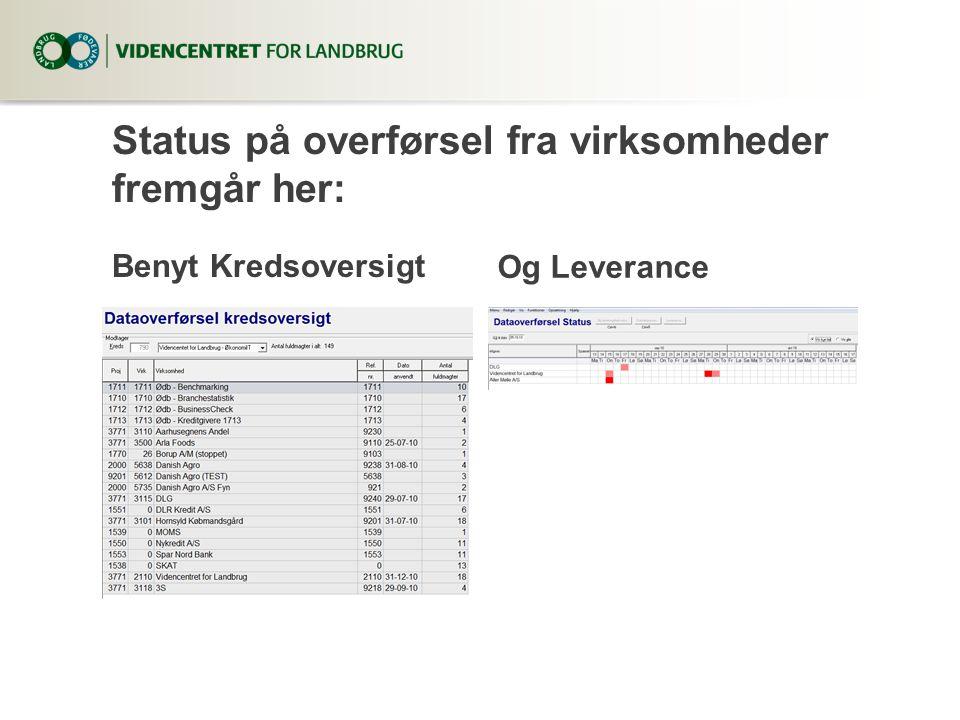 Status på overførsel fra virksomheder fremgår her: Benyt Kredsoversigt Og Leverance