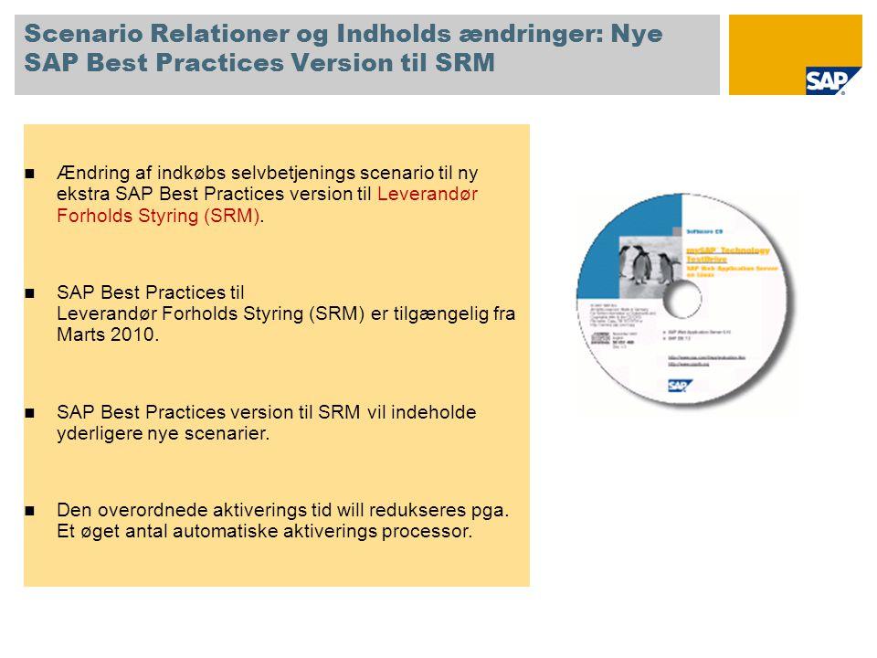Scenario Relationer og Indholds ændringer: Nye SAP Best Practices Version til SRM  Ændring af indkøbs selvbetjenings scenario til ny ekstra SAP Best Practices version til Leverandør Forholds Styring (SRM).