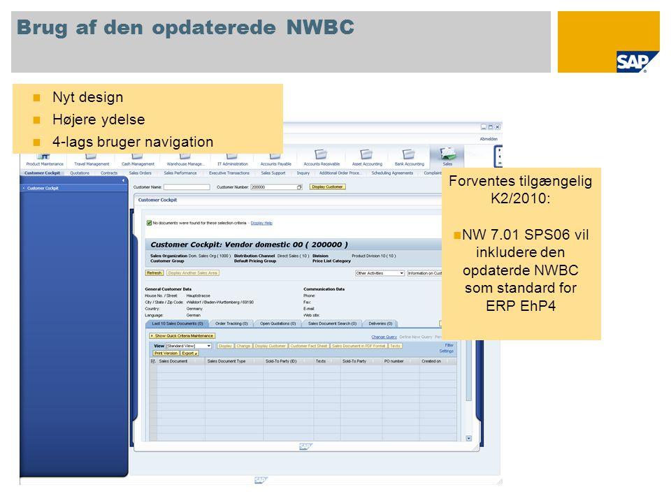Brug af den opdaterede NWBC  Nyt design  Højere ydelse  4-lags bruger navigation Forventes tilgængelig K2/2010:  NW 7.01 SPS06 vil inkludere den opdaterde NWBC som standard for ERP EhP4