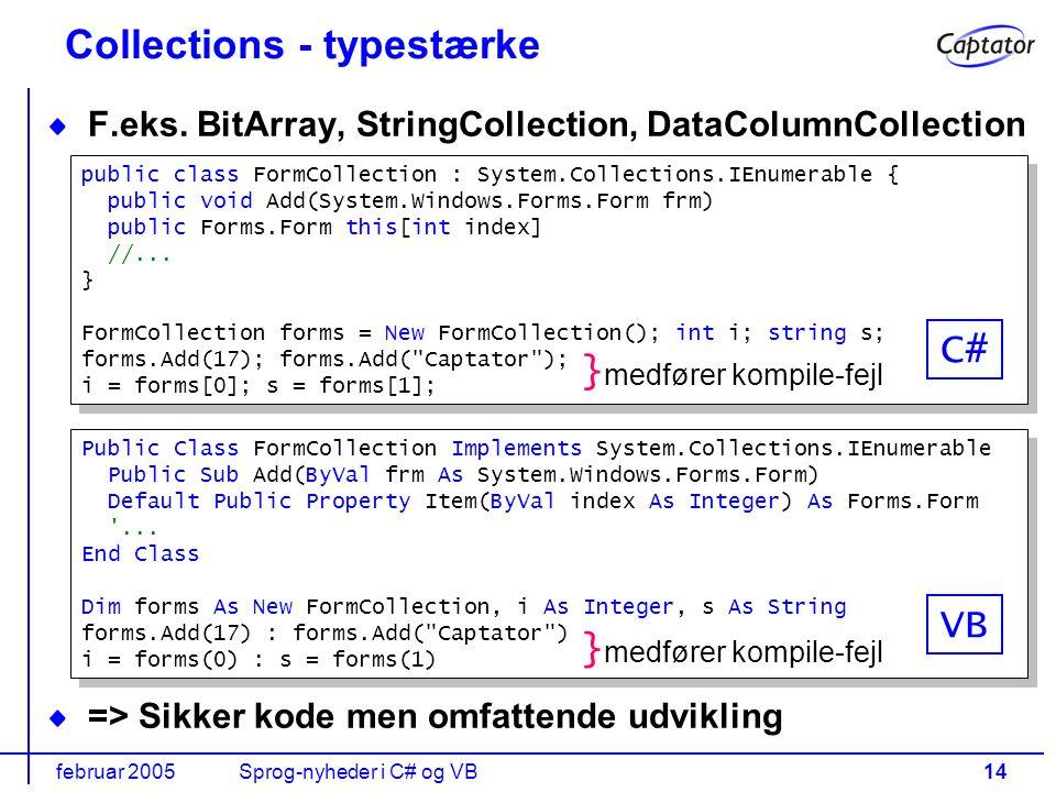 februar 2005Sprog-nyheder i C# og VB14 Collections - typestærke F.eks.