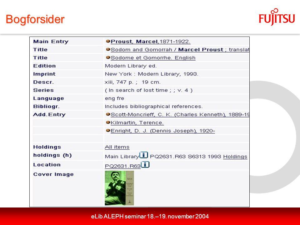 eLib ALEPH seminar 18.–19. november 2004Bogforsider