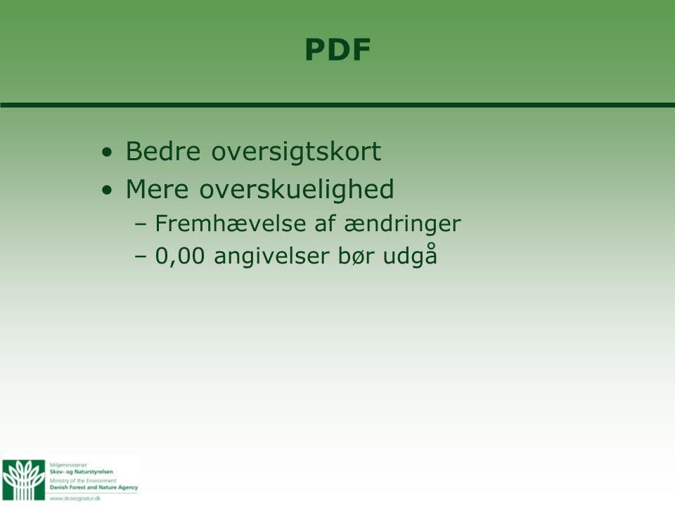 PDF •Bedre oversigtskort •Mere overskuelighed –Fremhævelse af ændringer –0,00 angivelser bør udgå