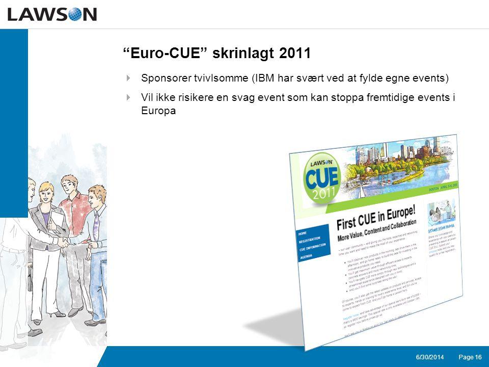 Page 166/30/2014 Euro-CUE skrinlagt 2011  Sponsorer tvivlsomme (IBM har svært ved at fylde egne events)  Vil ikke risikere en svag event som kan stoppa fremtidige events i Europa