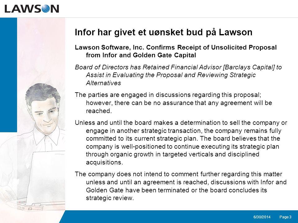 Page 36/30/2014 Infor har givet et uønsket bud på Lawson Lawson Software, Inc.