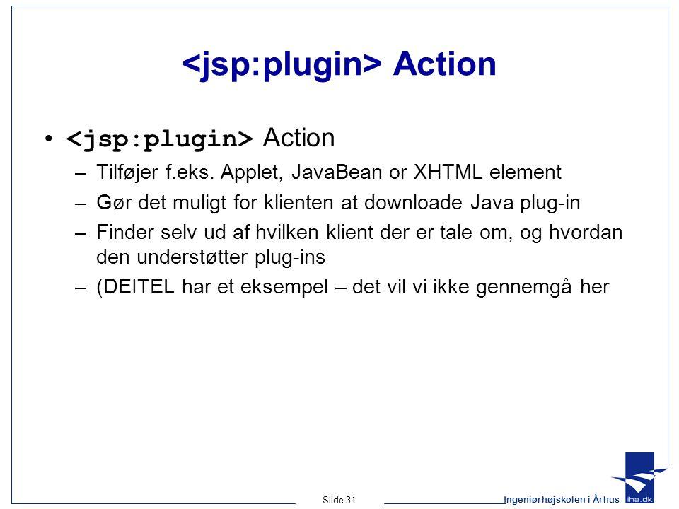 Ingeniørhøjskolen i Århus Slide 31 Action • Action –Tilføjer f.eks.