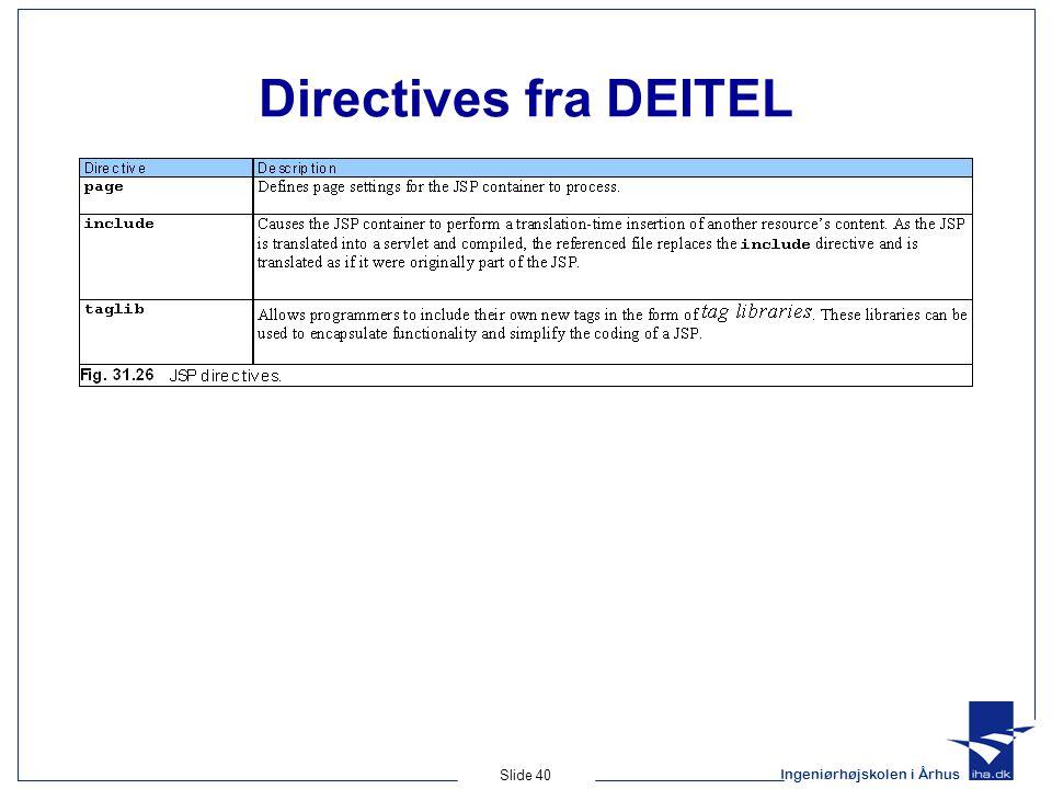 Ingeniørhøjskolen i Århus Slide 40 Directives fra DEITEL