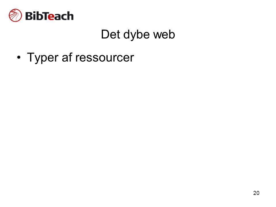 20 Det dybe web •Typer af ressourcer