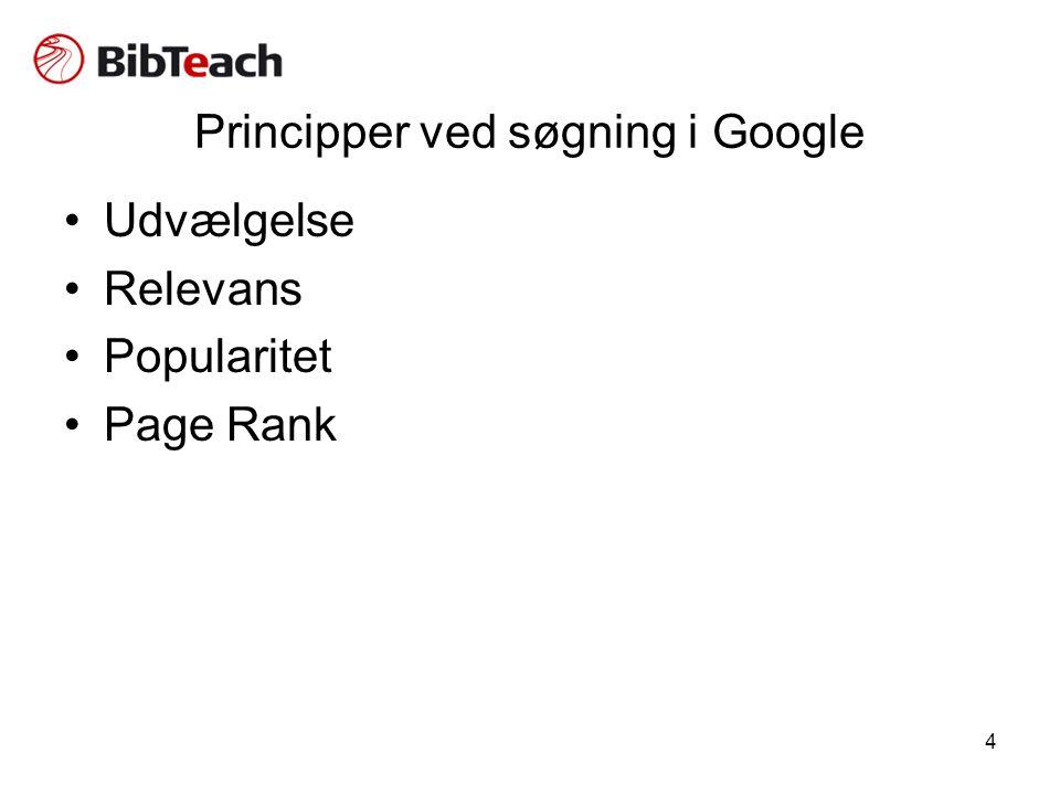 4 Principper ved søgning i Google •Udvælgelse •Relevans •Popularitet •Page Rank