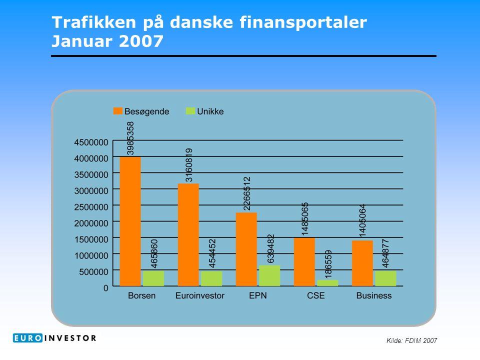 Trafikken på danske finansportaler Januar 2007 Kilde: FDIM 2007