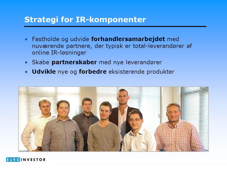 Strategi for IR-komponenter •Fastholde og udvide forhandlersamarbejdet med nuværende partnere, der typisk er total-leverandører af online IR-løsninger •Skabe partnerskaber med nye leverandører •Udvikle nye og forbedre eksisterende produkter