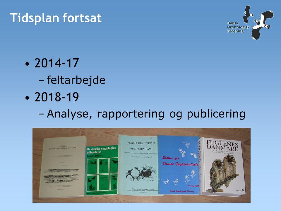 Tidsplan fortsat •2014-17 –feltarbejde •2018-19 –Analyse, rapportering og publicering