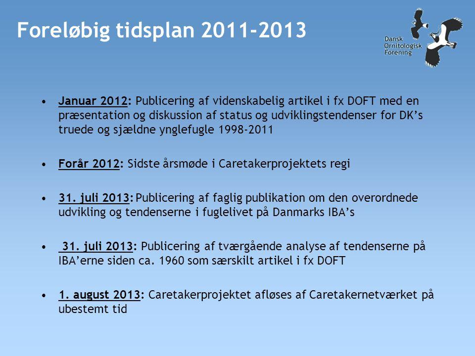 Foreløbig tidsplan 2011-2013 •Januar 2012: Publicering af videnskabelig artikel i fx DOFT med en præsentation og diskussion af status og udviklingstendenser for DK's truede og sjældne ynglefugle 1998-2011 •Forår 2012: Sidste årsmøde i Caretakerprojektets regi •31.