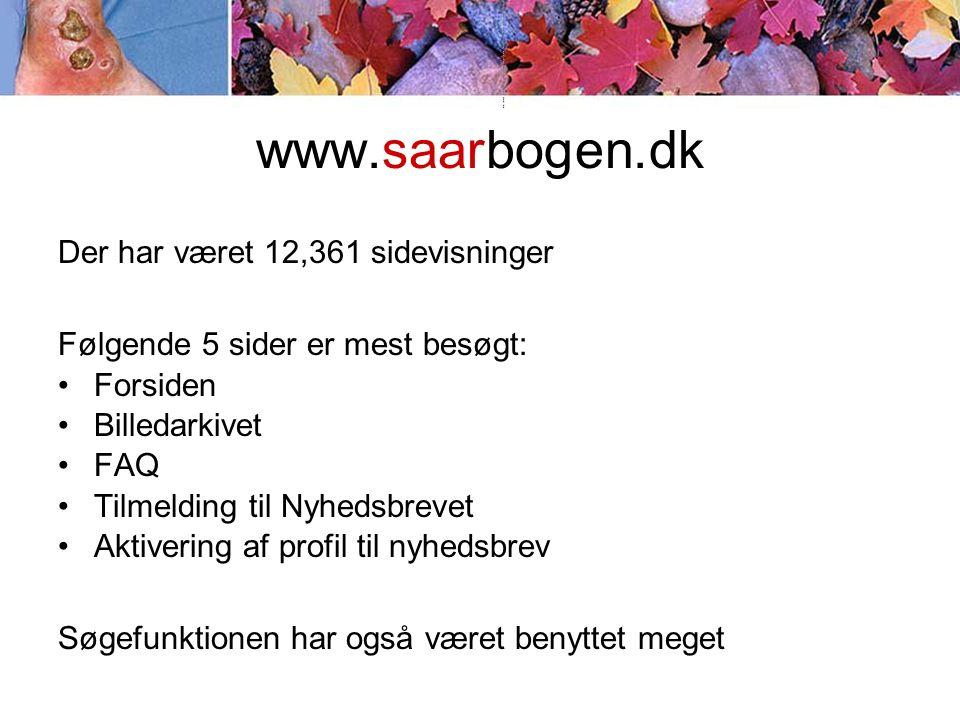 www.saarbogen.dk Der har været 12,361 sidevisninger Følgende 5 sider er mest besøgt: •Forsiden •Billedarkivet •FAQ •Tilmelding til Nyhedsbrevet •Aktivering af profil til nyhedsbrev Søgefunktionen har også været benyttet meget